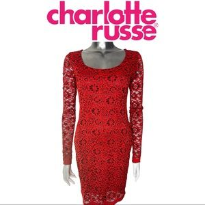 Charlotte Russe Red Lace Bodycon Lined Dress
